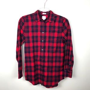 J. Crew Red Plaid Flannel Shirt Boy Fit Button Up